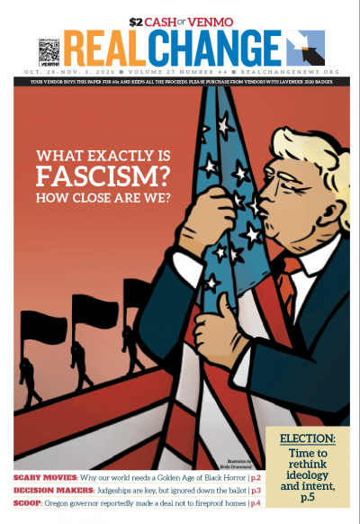 "Artist Emily Drummond created ""This: Fascism"" to illustrate Staff Reporter Ashley Archibald's probe, which continues on page 5. The questions are ""what exactly is fascism?"" and ""how close are us U.S. inhabitants to realizing it?"""
