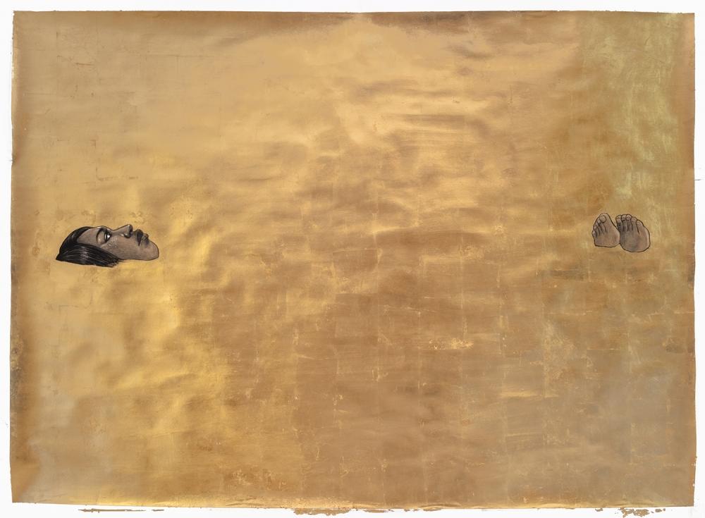 """Sarcophagus"" by Robert Pruitt, 2019, conté, charcoal & gold leaf on paper, 60"" x 84"""
