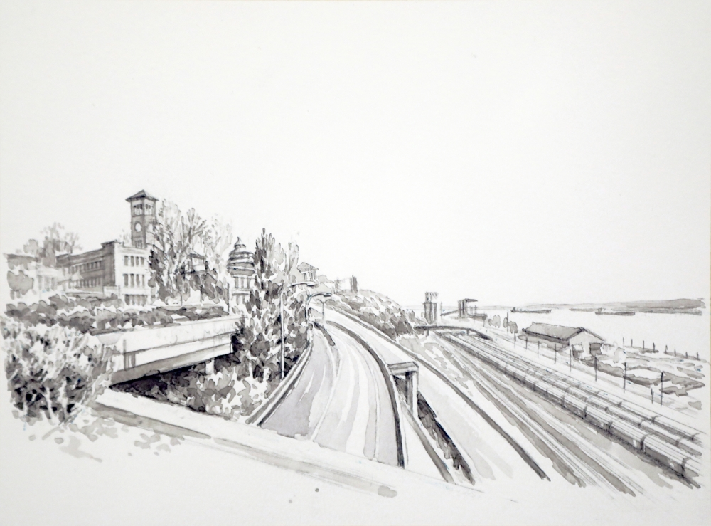 """""""Chinatown in the Northern Pacific Railroad's half-moon yard"""" by Zhi Lin, 2017, Chinese ink on paper."""