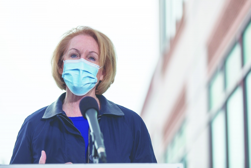 Seattle Mayor Jenny Durkan held a press conference Jan. 31 outside the popup vaccine clinic at the UFCW Local 21 office in the Georgetown neighborhood. The UFCW 21 union represents many local essential workers, such as grocery store workers. Durkan called