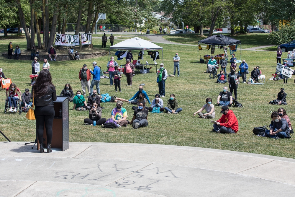 Organizers held the Cancel the Rent rally in Othello Park, in southeast Seattle, June 5.