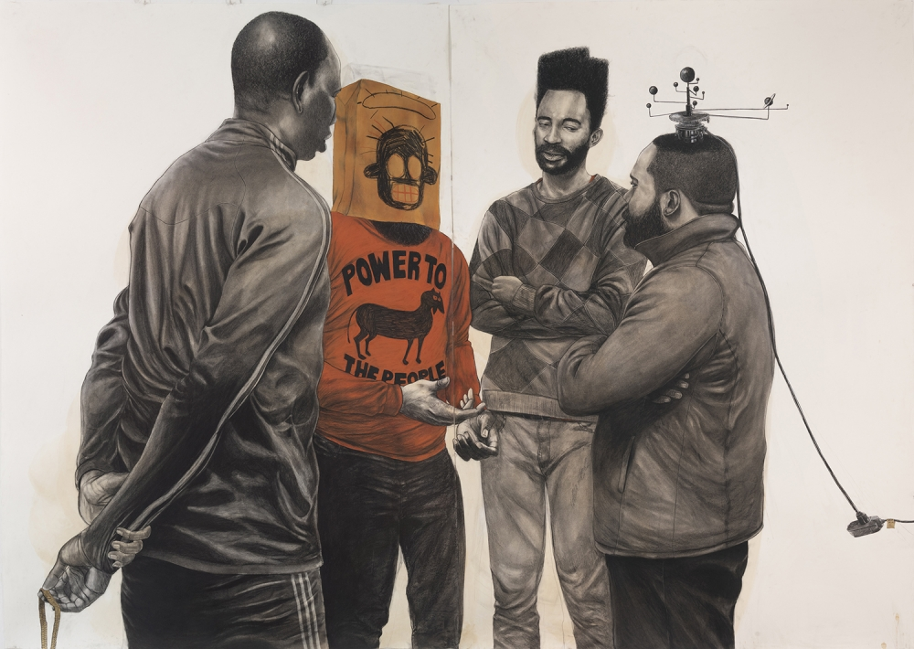"""""""Black and Red Power Crew,"""" 2019, Conté, charcoal & gold leaf on coffee stained paper, 84"""" x 120"""". Image courtesy of the artist and Koplin Del Rio. Artwork photo by Adam Reich Photography."""