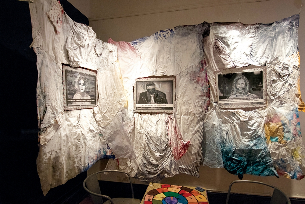 """AND NOW Behind Curtain #45,"" by Beverly Naidus. Photo courtesy Bonfire Gallery"