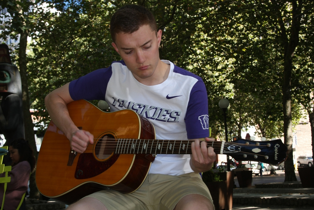 Real Change intern Alex Visser did some busking himself as research for this story. Photo by Jon Williams