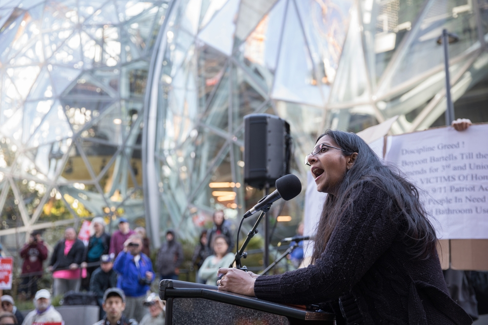 More than 150 demonstrators gathered outside the Amazon Spheres in downtown Seattle, led by Kshama Sawant and Socialist Alternative. Photo by Alex Garland