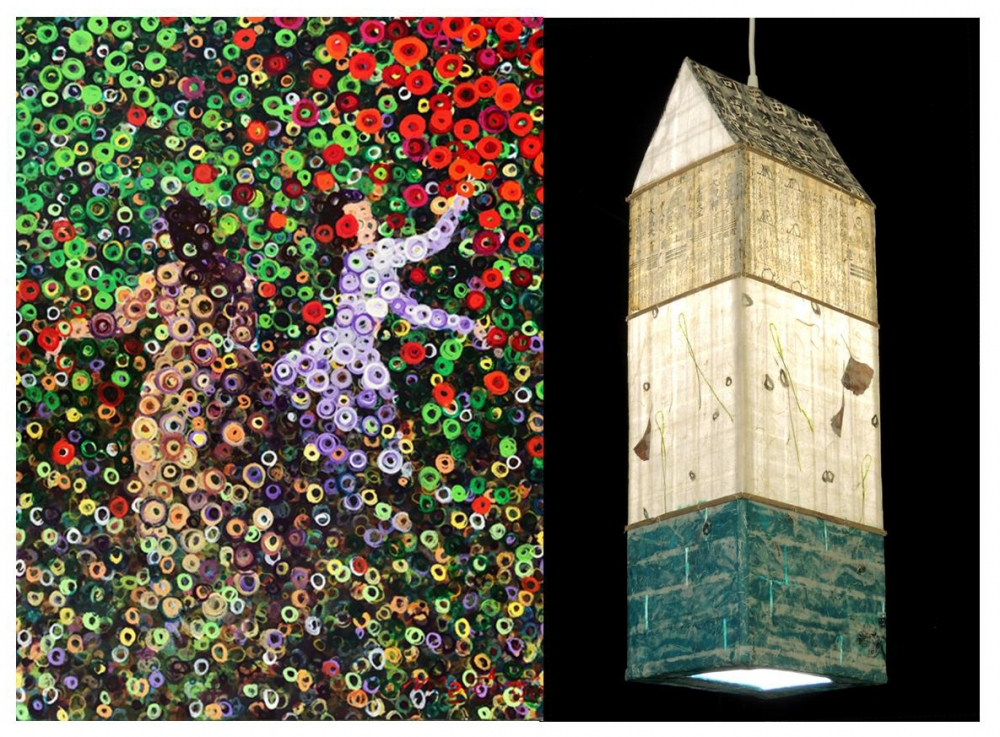 """(left) """"Harvesting"""" by Marcio Diaz, acrylic on canvas. (right) """"Gingko Water Spirit House"""" by Elaine Hanowell, handmade paper and bamboo."""