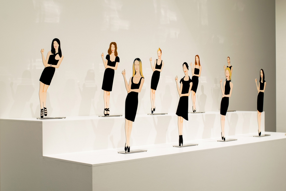 """""""Black Dress"""" sculptures by Alex Katz, Archival ink on aluminum and stainless steel base. Photo courtesy Bellevue Arts Museum"""