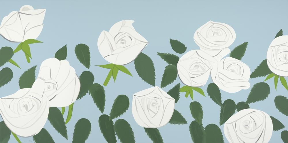 """White Roses"" by Alex Katz, 2014, silkscreen, 43 x 86 in. Art © Alex Katz/Licensed by VAGA, New York, NY"