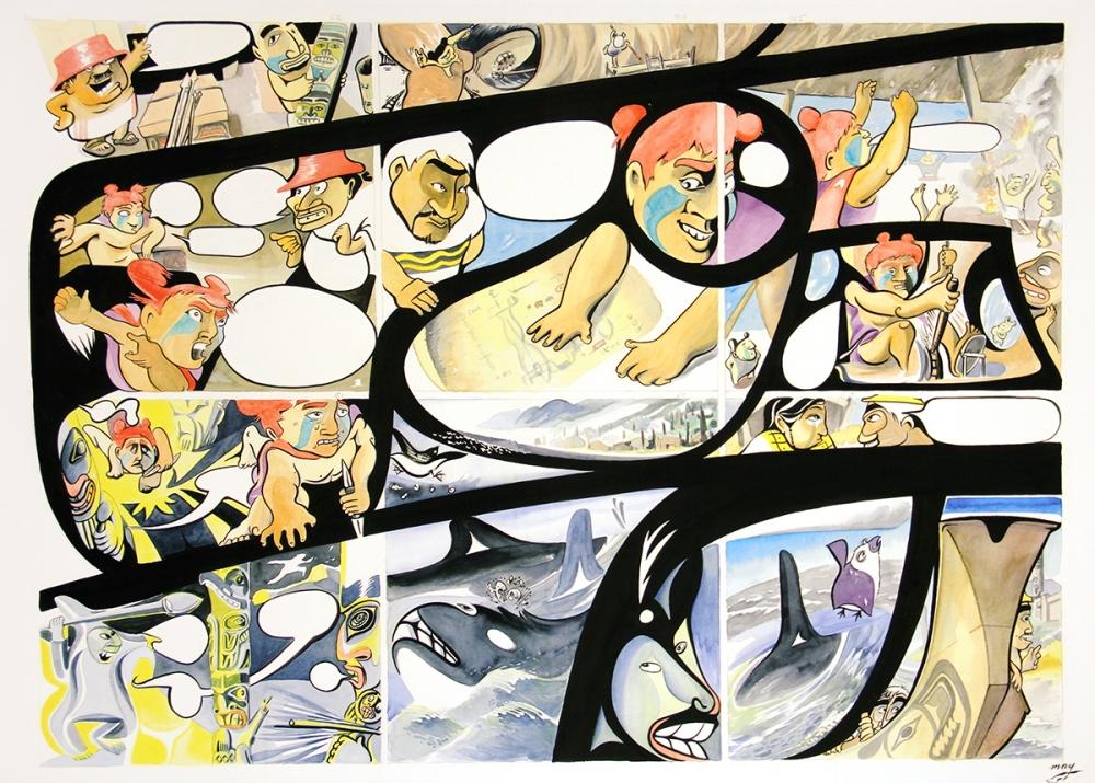 """RED: A Haida Manga"" by Michael Nicoll Yahgulanaas, open edition giclees, 2015."