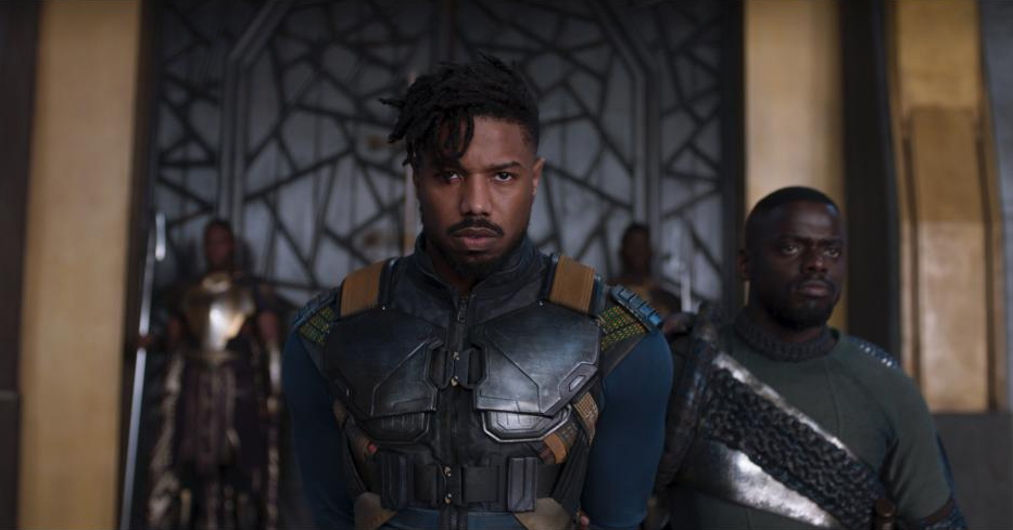 From left Erik Killmonger stands next to W'Kabi. Photo courtesy Disney.