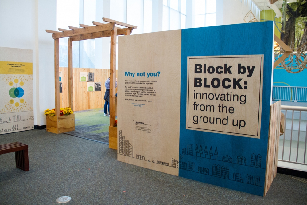 "Installation view of ""Block by BLOCK: Innovating from the Ground Up."" Photo courtesy of the Pacific Science Center"