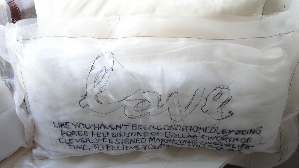 "Pillow from ""Self as State/Self as Self"" installation by Satpreet Kahlon. Photo by Lisa Edge"