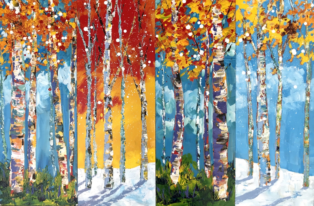 """Birch Trees,"" acrylic on canvas by Che Lopez."