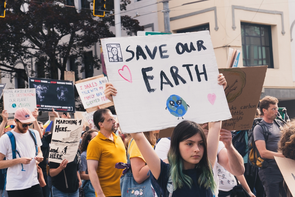 Young people left classes Sept. 20 to strike for climate change. Photo by Sarah Michelle Shannon