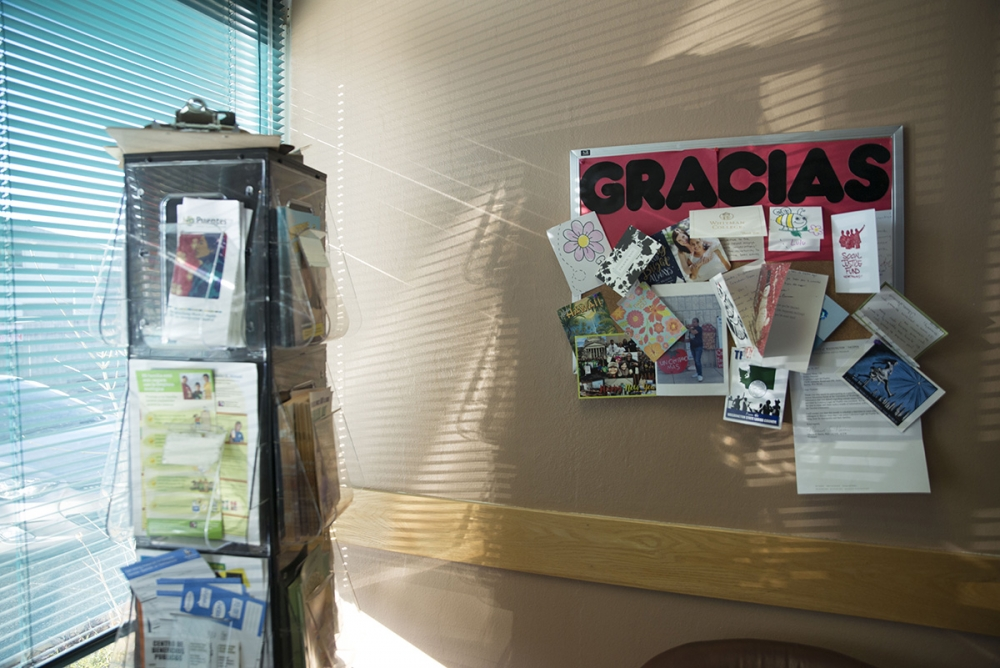 A board at Colectiva's office in Burien features thank-you notes from its clients. Photo by Sarah Shannon
