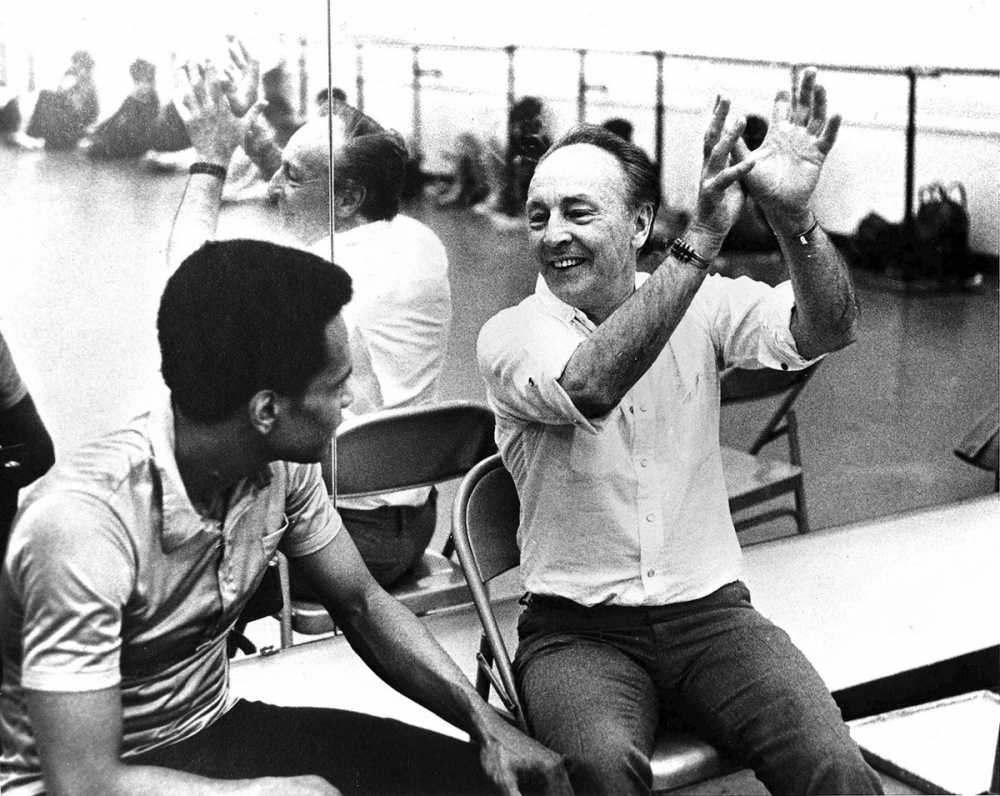 Arthur Mitchell and George Balanchine in rehearsal,1971. Photo by Martha Swope