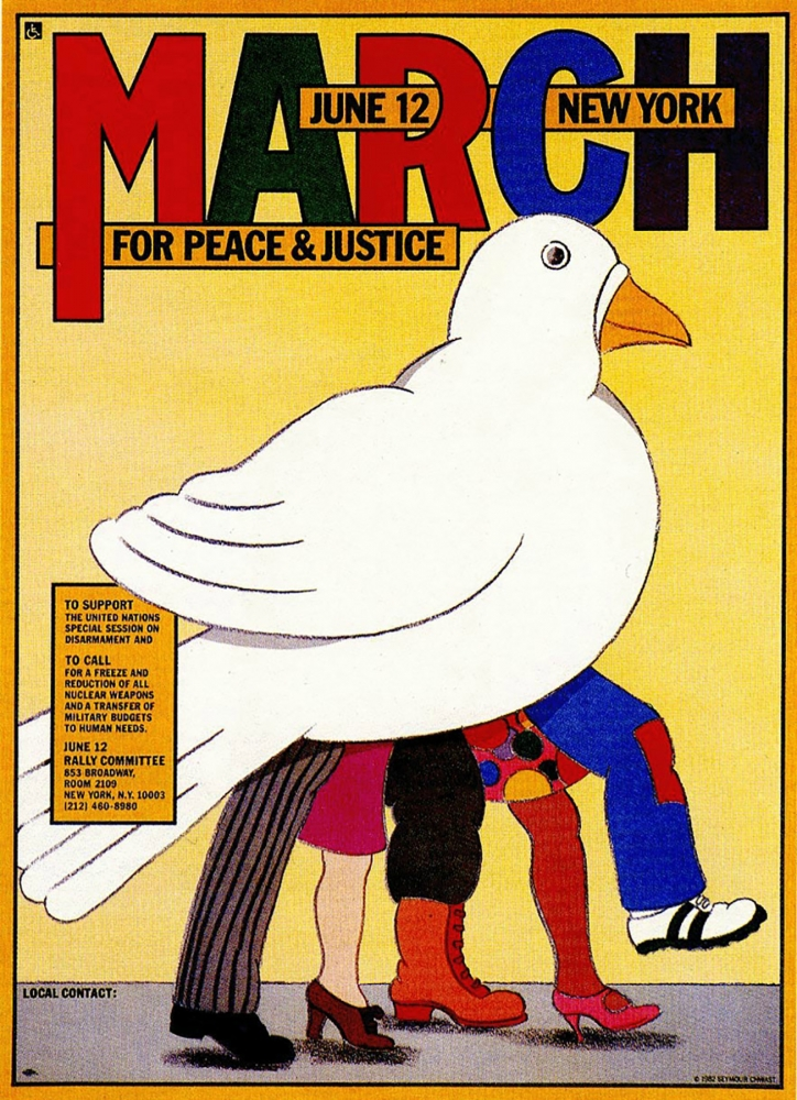 "Seymour Chwast's ""March for Peace & Justice,"" 1982, promoted an anti-nuke rally that drew nearly 1 million on June 12, 1982."