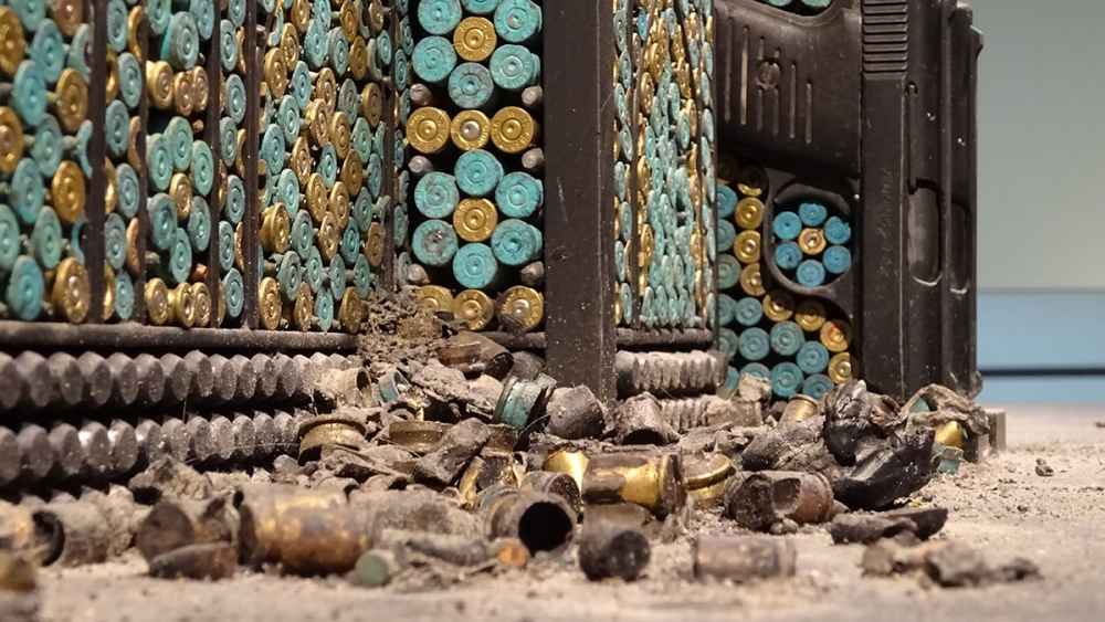 """Bombed Mosque,"" 2010, guns, gun parts, bullets, steel. Photo by Lisa Edge"