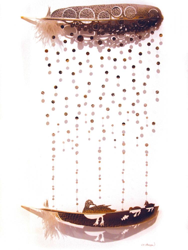 """Chris Maynard, """"Rain Ducks,"""" turkey feathers, 2016"""
