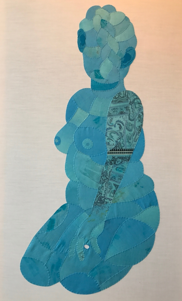 """Blue Nude"" by Sarah Trahan,  found fabric, embroidery"