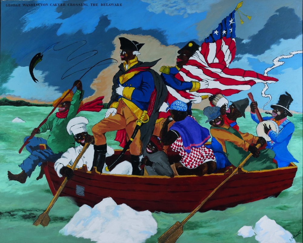 """""""George Washington Carver Crossing the Delaware: Page from an American History Textbook,"""" acrylic on canvas, 1975 by Robert Colescott"""