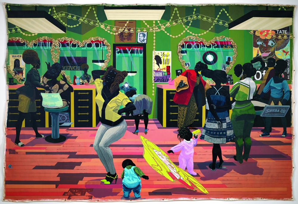 """""""School of Beauty,"""" acrylic and glitter on unstretched canvas, 2012 by Kerry James Marshall"""