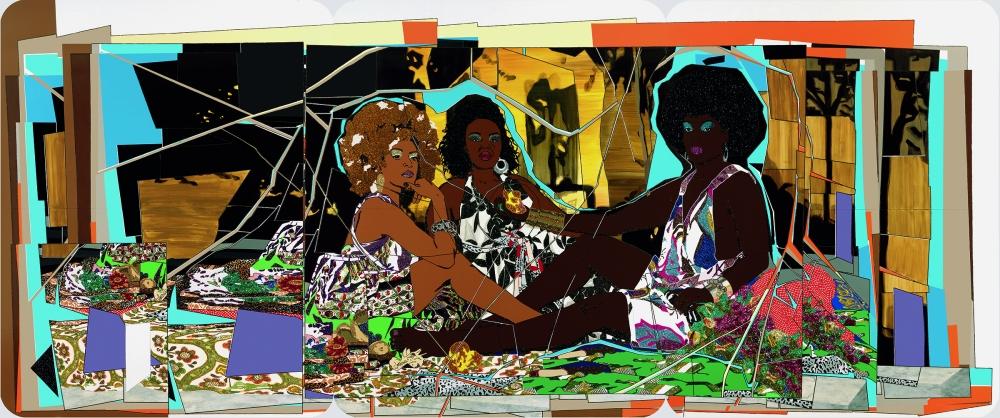 """""""Le déjeuner sur l'herbe: Les Trois Femmes Noires,"""" rhinestones, acrylic and enamel on wood panel, 2010 by Mickalene Thomas"""