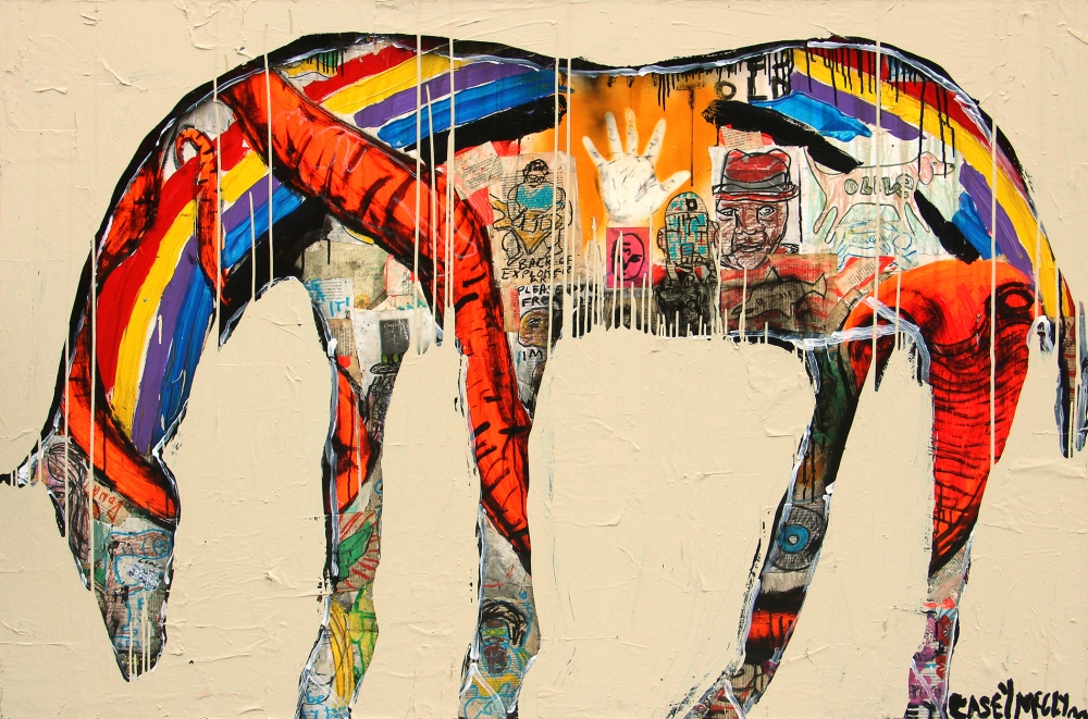 """Rainbow Horse,"" by Casey McGlynn, is showing at the Foster/White Gallery"
