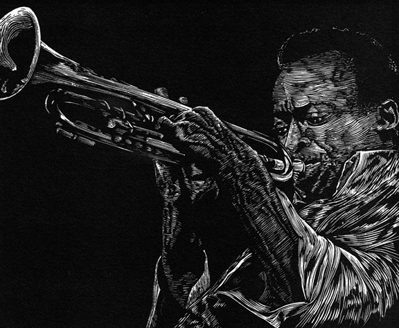 """Miles Davis"" by Eric Hoffman, wood engraving"
