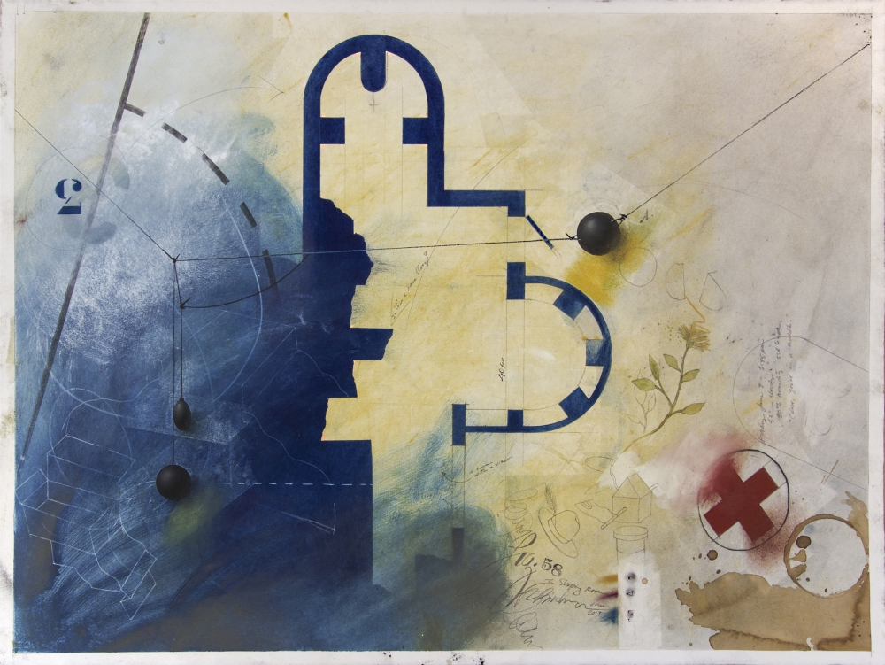 """Fred Birchman's """"The Sleeping Room"""" (mixed media) at Prographica/KDR Gallery."""