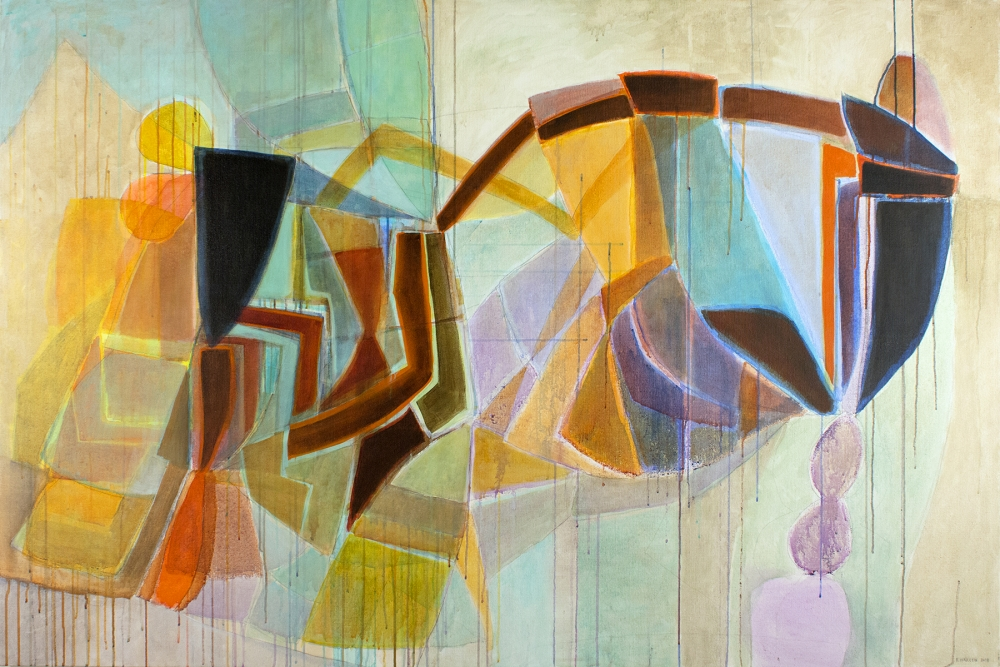 """Fields of Color"" by Eva Isaksen, acrylic on canvas 48 X 72 in. at Foster/White gallery"
