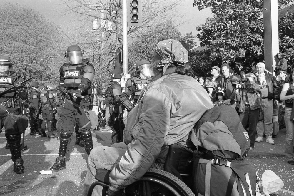 Anti-war protest, Seattle, April 20, 2002. Collection of Washington State Historical Society.