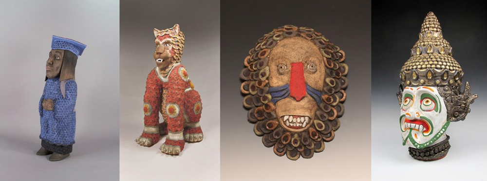 "From left ""Dreamer,"" ceramic with glaze, 2017; ""Lion"" ceramic with glaze, 2015; ""Monkey: Mandrill,"" ceramic with glaze, 2016; ""Hanuman,"" ceramic with glaze, 2015. Photos courtesy Foster/White gallery."