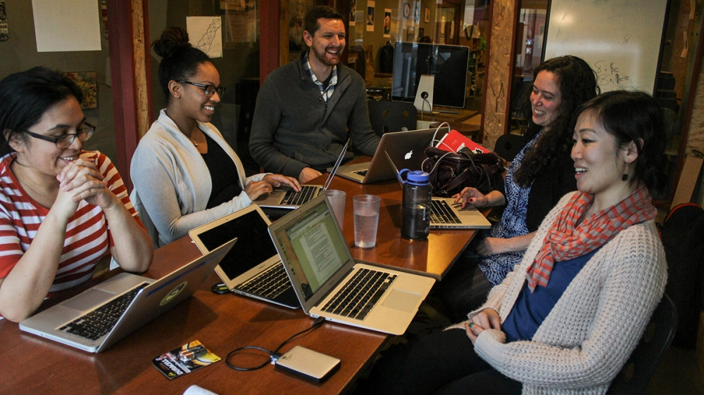 From left, The Seattle Globalist Editorial Director Venice Buhain, Intern Sharayah Lane, Founding Editor Alex Stonehill, Executive Director Jessica Partnow and Community Engagement Editor Christina Twu. Photo courtesy of The Globalist
