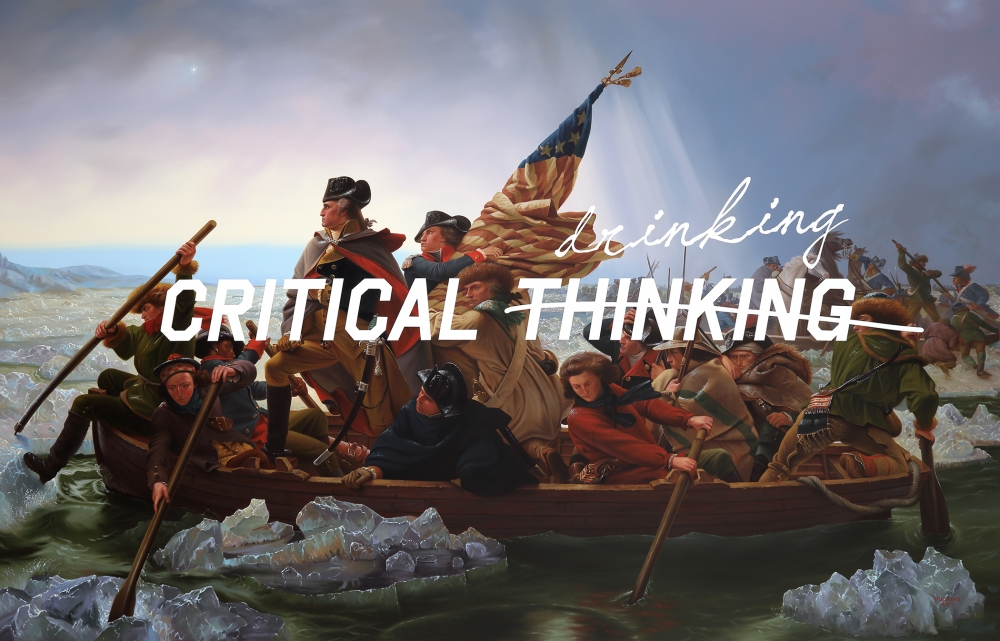 """Washington Crossing The Delaware: Critical Drinking"" by Shawn Huckins, acrylic on canvas. Photo courtesy Foster/White gallery."