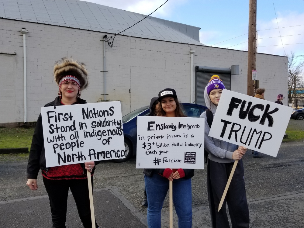 Feb.4 protest at Northwest Detention Center. Photo by Ashley Archibald.