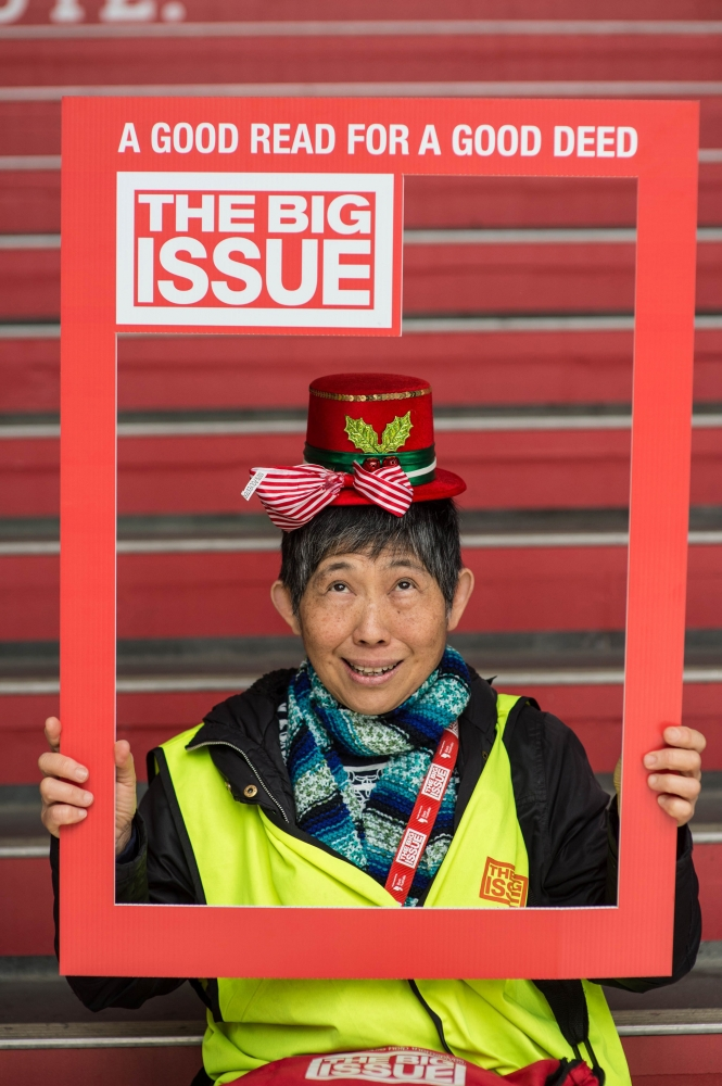 "The Big Issue Australia, vendor Sue chooses ""Amazing Grace."" Photo by Michelle Grace Hunder"