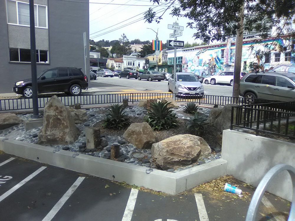 Decorative rocks put in place outside the public library in the Castro district of San Francisco. Photo by TJ Johnston