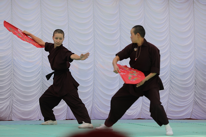 Kung fu nun Jigme Konchok Lhamo says that kung fu is not for fighting or causing pain, but for self defense.  Photo courtesy Kung Fu Nuns