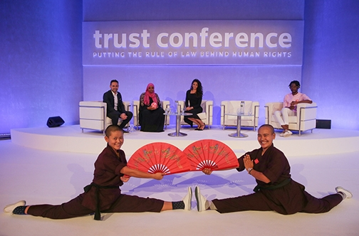 Jigme Konchok Lhamo and Jigme Wangchuk Lhamo attend Trust Conference, the Thomson Reuters Foundations' annual human rights and anti-trafficking seminar in London. Photo courtesy Thomson Reuters Foundation