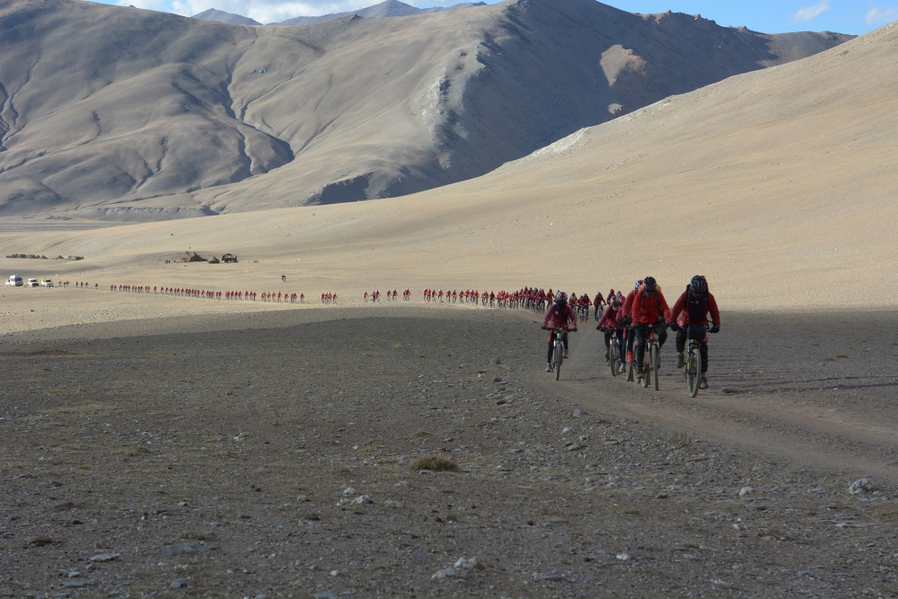In the wake of the 2015 earthquake in Nepal, they rode bicycles in high altitude through the Himalayas to help with the relief effort. Photo courtesy Kung Fu Nuns