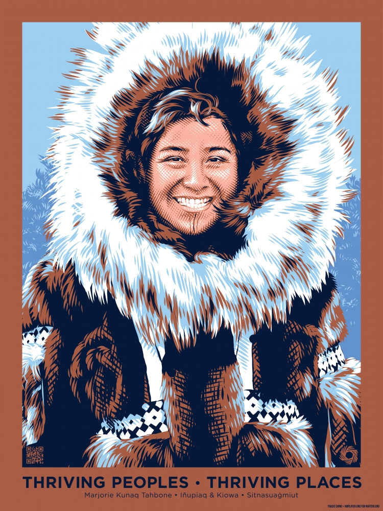 Marjorie Kunaq Tahbone is a member of the Inupiaq and Kiowa nations. She is an environmental activist whose artistic work focuses on revitalizing ancient skills, such as hide tanning, traditional regalia making and tool making.