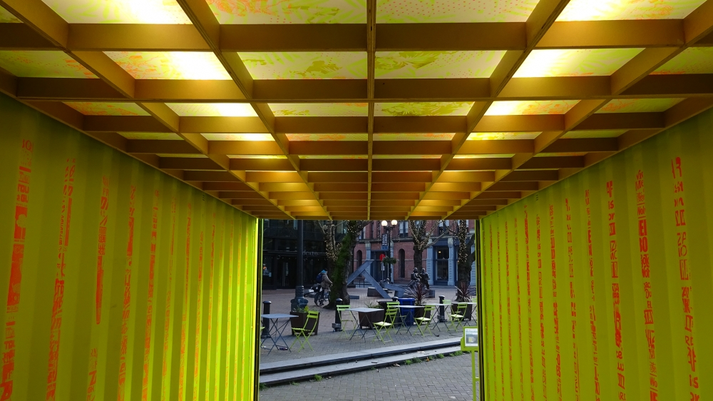 """Interior of """"Illumination Station"""" by Electric Coffin in Occidental Park. Photo by Lisa Edge"""