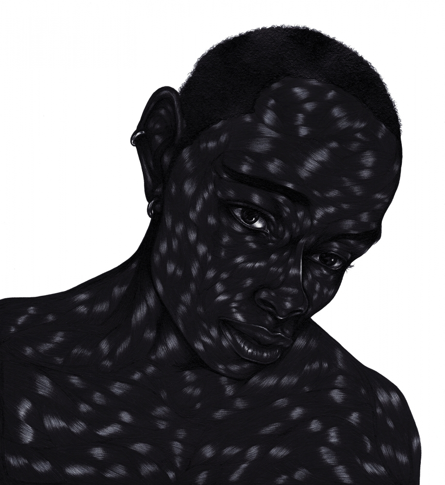 """""""You are welcome"""" by Toyin Ojih Odutola, 2012, pen and ink on paper, 14 × 11"""""""
