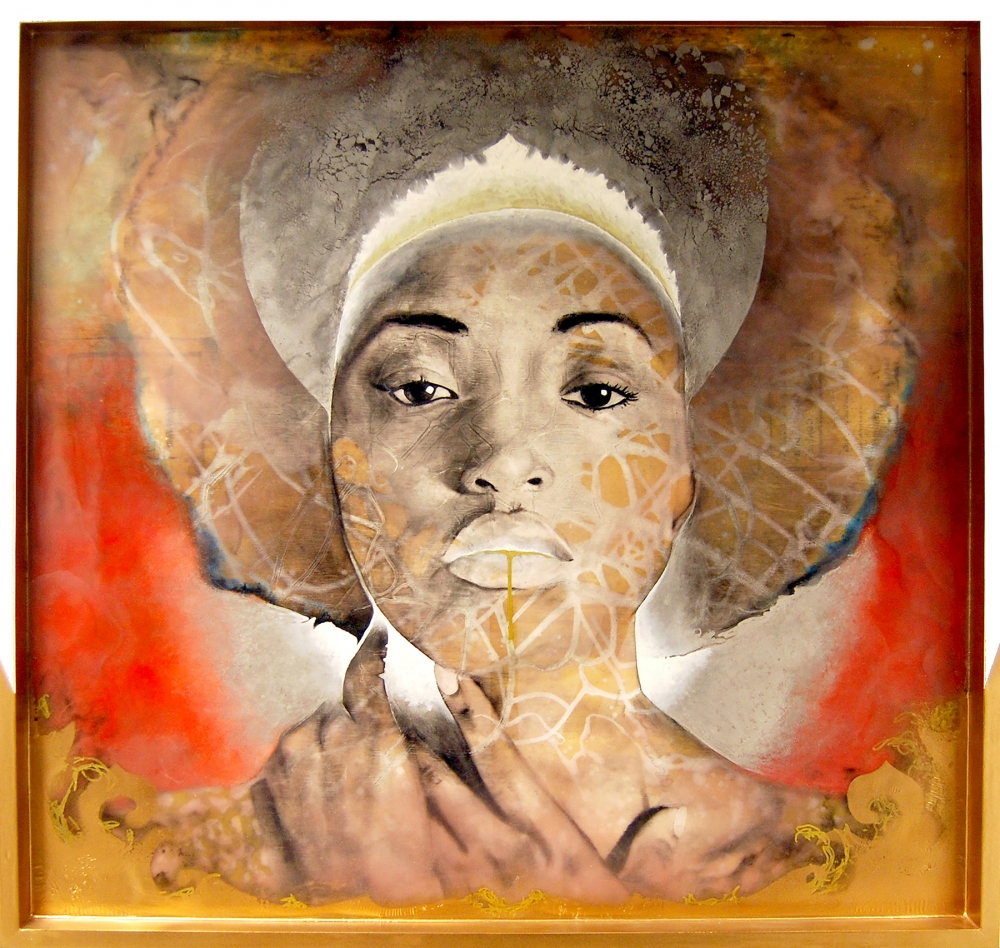 """""""Princess"""" by Jeremy Bell, charcoal, ink, graphite, spray paint, wax, on wood, 2013."""