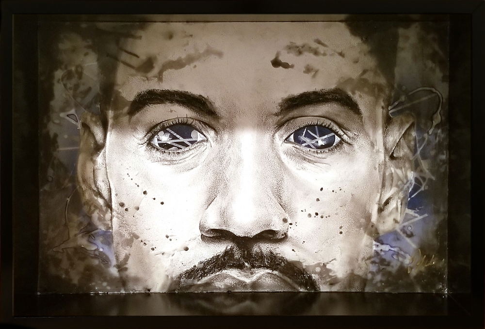 """""""Visionary 2"""" by Jeremy Bell, charcoal, ink, graphite, spray paint, wax, on wood, 2018."""