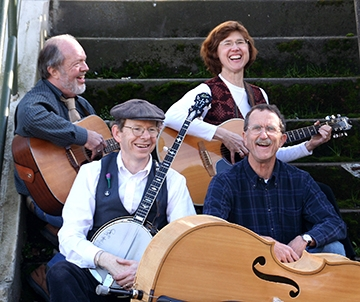 Jim Douglas, far right, was a self-taught bass player and a dedicated member of the band Clallam County. Photo courtesy of Sasha Harmon
