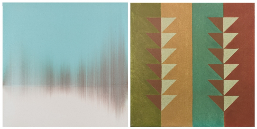"From left, ""Quiet Teal,"" 2019, acrylic on unprimed canvas, 42"" x 42""; ""Pattern 1 – Fall,"" 2016, acrylic on canvas, 12"" x 12"""