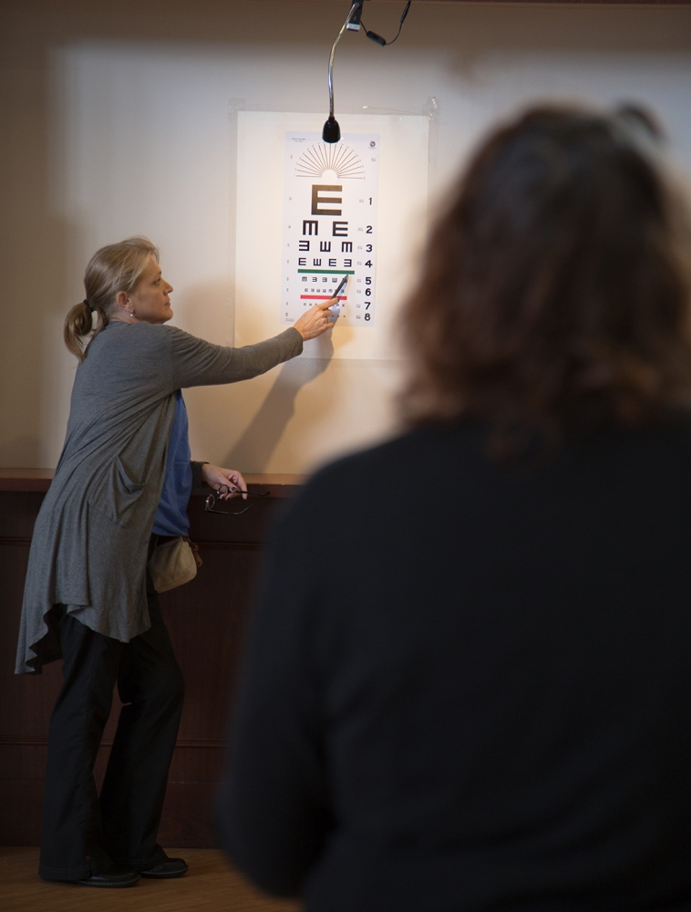 Eye exams were available at the annual Seattle/King County Clinic. Photo by Matthew S. Browning