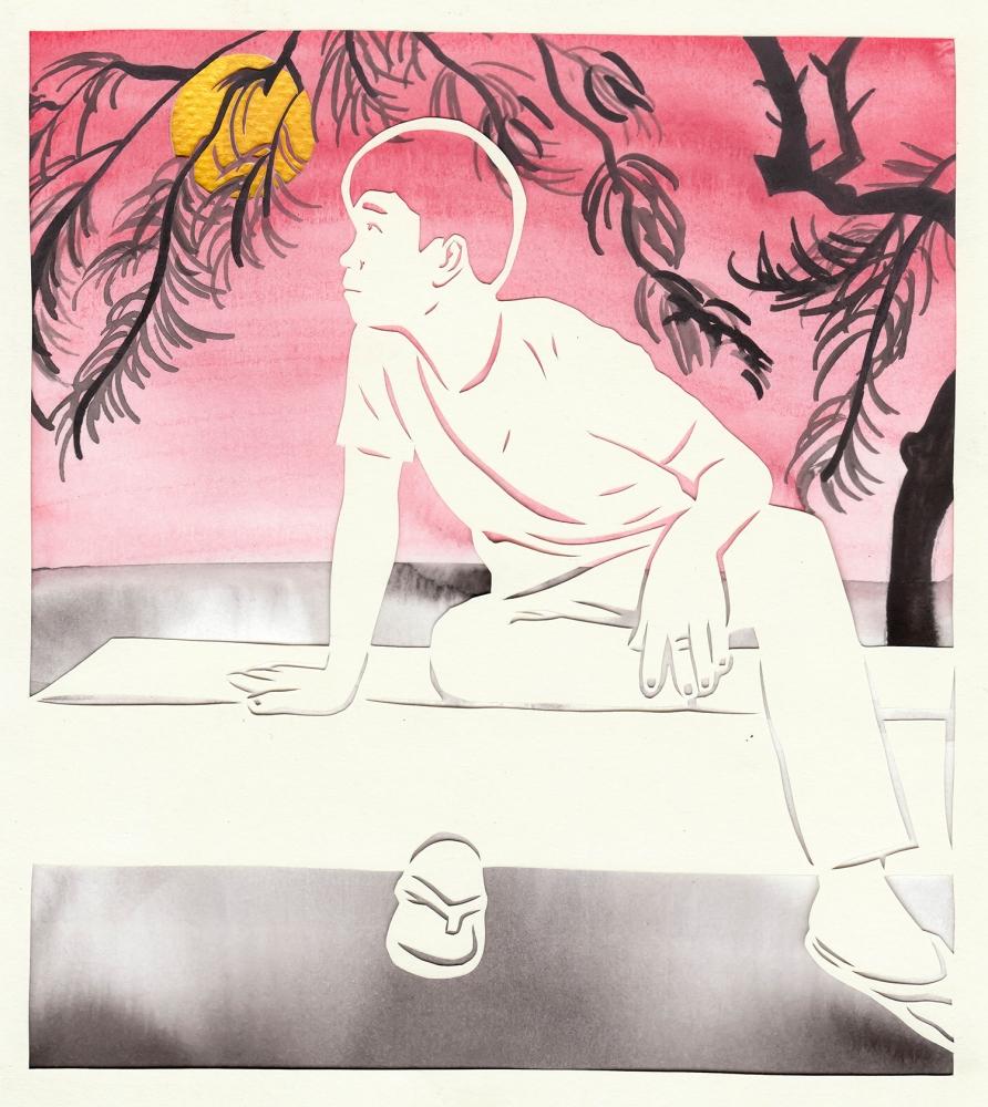 """On a Moonlit Night"" by Lauren Iida, hand-cut paper, sumi ink, watercolor, acrylic."